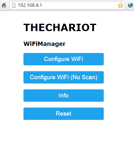 The CHARioT WiFI AP front page